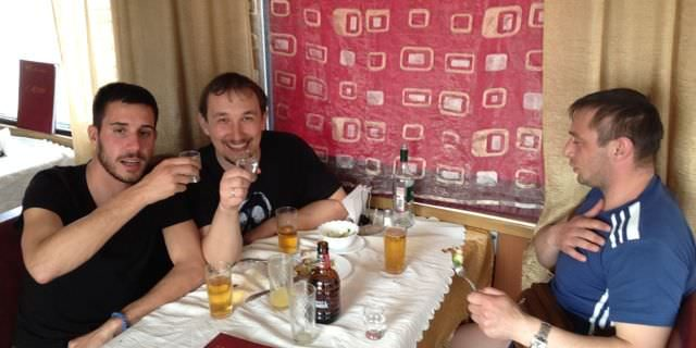 drinking vodka on the trans siberian