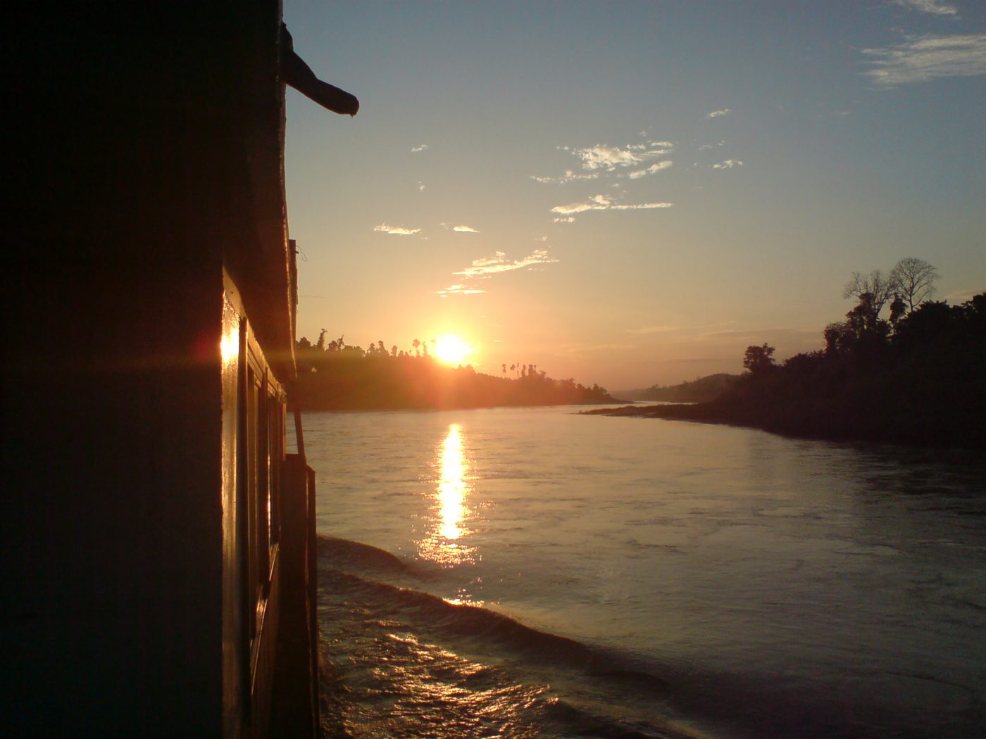 Sunset on the cargo boat