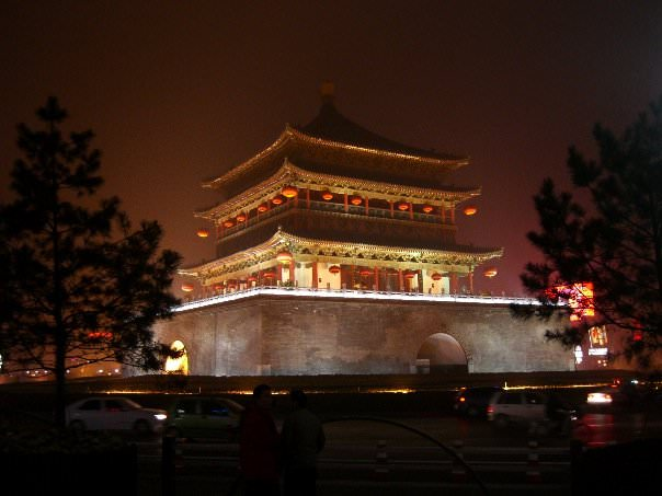 Night temple in Xi'an, backpacking in China