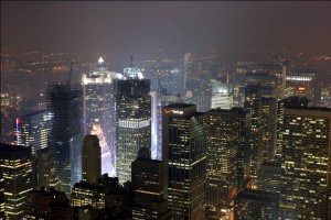 The view from the empire state building at night
