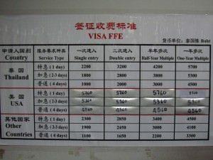 How much does a Chinese visa cost in Bangkok