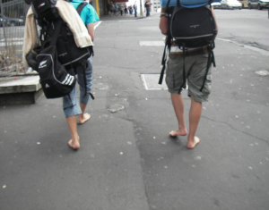 Barefoot backpackers
