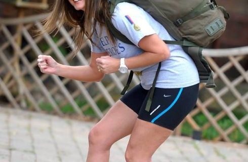running with a backpack on