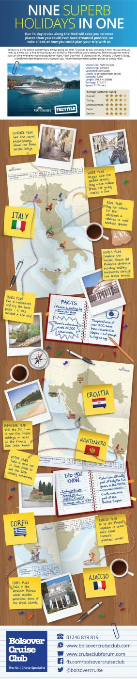 Cruise Ship Infographic: 9 Superb Mediterranean Holidays In 1 Cruise