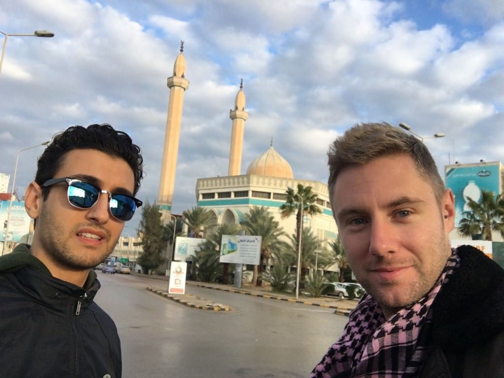Muad and I touring Misrata,   his city