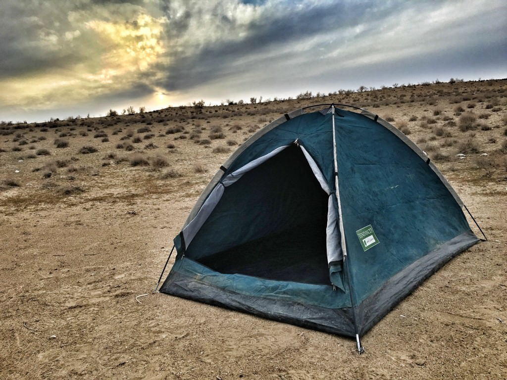 camping at the gas crater turkmenistan