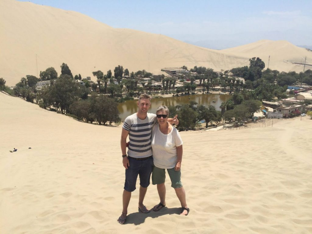 Us at the gorgeous oasis at Huacachina