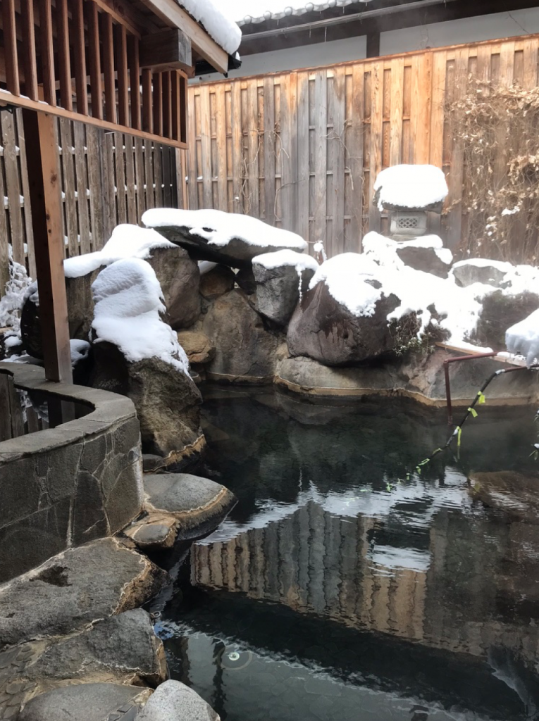 The outdoor hotspring in my hotel