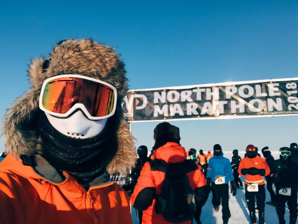 Getting ready to start the north pole marathon