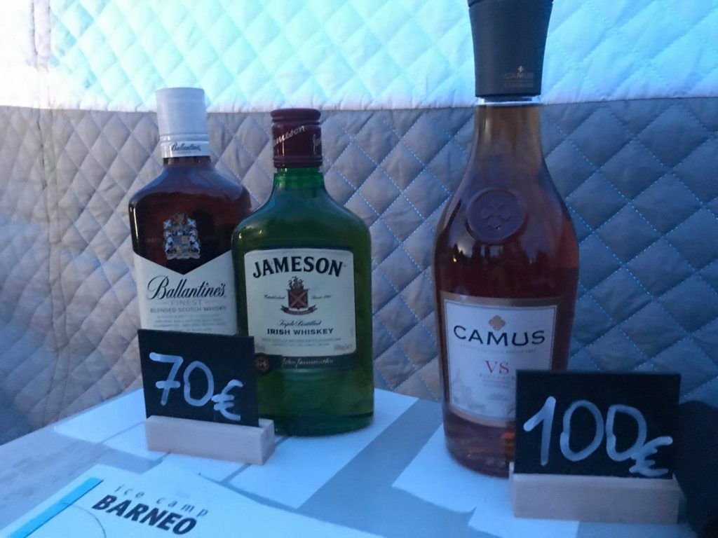 Over priced booze at Barneo camp at the North Pole