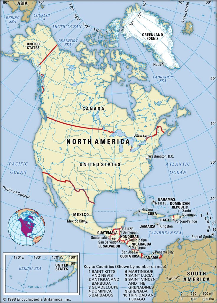 How many countries are there in North America? 23? Or More?