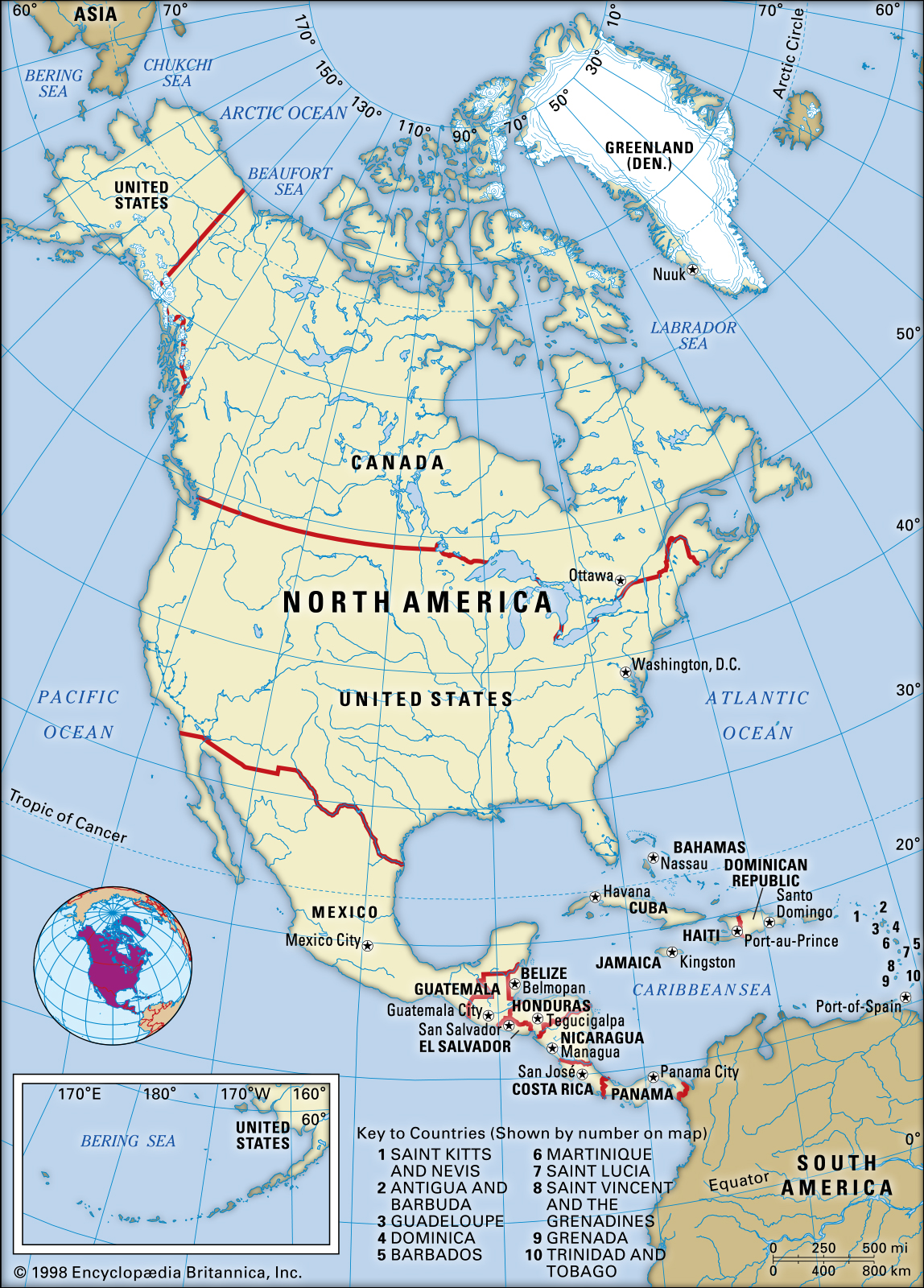 How many countries in north america