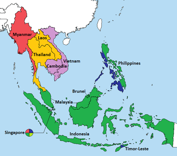 countries in southeast asia map